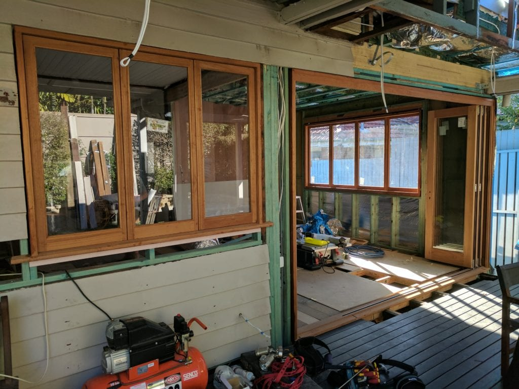 house extension doorway progress in brisbane
