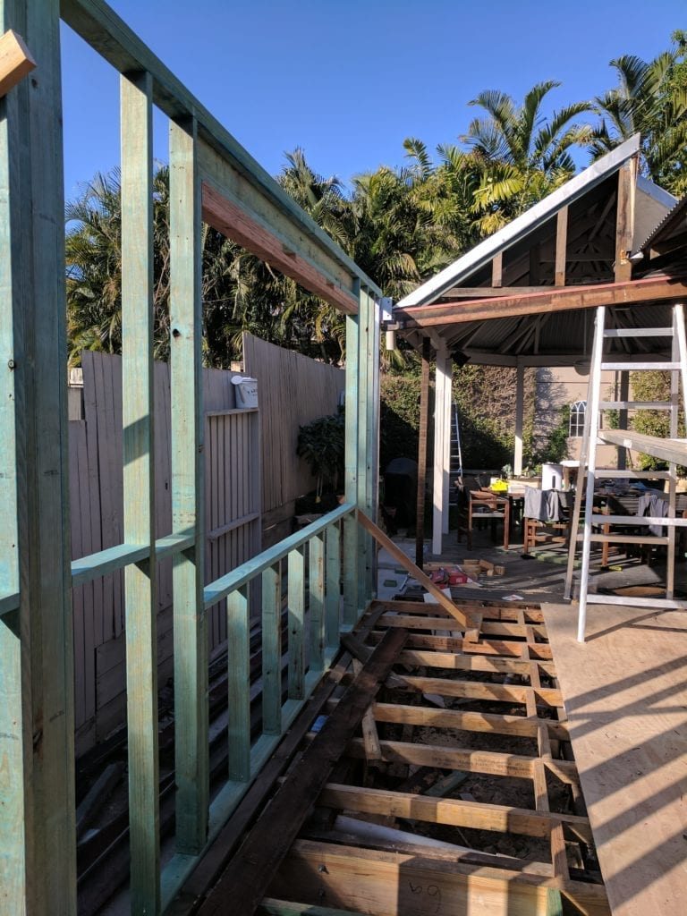 ground floor framing for extension of brisbane house